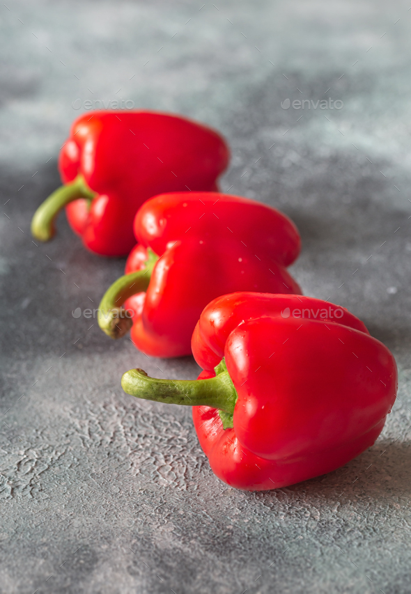 Fresh red peppers close up - Stock Photo - Images