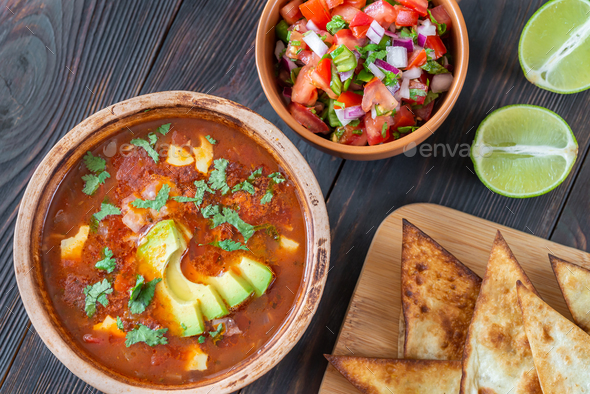 Bowl of spicy Mexican soup - Stock Photo - Images