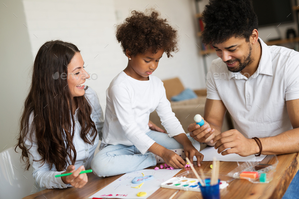 Picture of happy family having wonderful time together - Stock Photo - Images