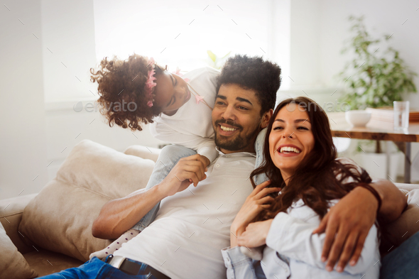 Picture of happy family spending time together - Stock Photo - Images