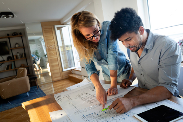 Business People and architects working on project together - Stock Photo - Images