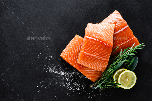 Salmon. Fresh raw salmon fish fillet - Stock Photo - Images