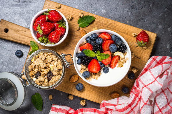 Greek yogurt granola with fresh berries - Stock Photo - Images