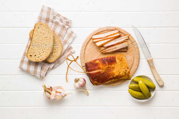 Smoked meat. Tasty bacon. - Stock Photo - Images