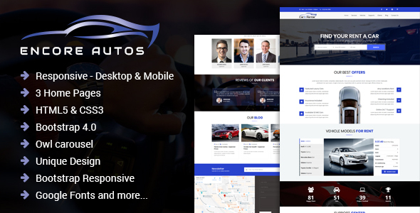 Encore Autos - One Page Car Rental HTML Template by hassan_malik19