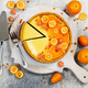 Cheesecake with slices of orange and kumquat. Top view. - PhotoDune Item for Sale