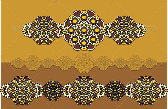 East  Ornament in yellow and brown colors - Decorative Symbols Decorative