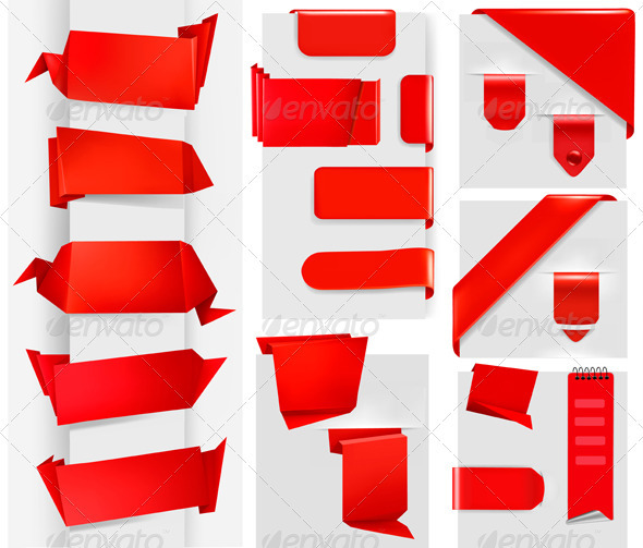 Big collection of red origami paper banners - Borders Decorative