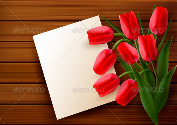 Red tulips and blank card  on old wooden board - Flowers & Plants Nature