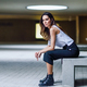 Beautiful brunette woman, model of fashion, posing in modern building - PhotoDune Item for Sale
