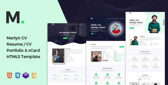 Martyn | CV Resume / Portfolio & vCard HTML Template by anil_z