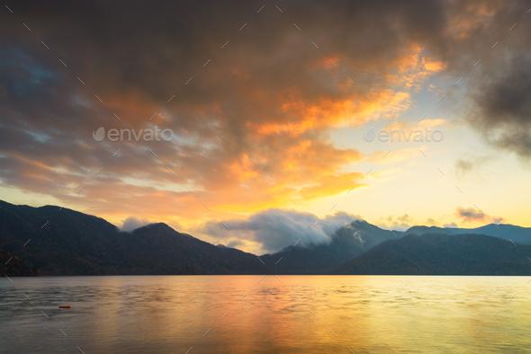 Lake Chuzenji in Nikko, Japan at sunset. - Stock Photo - Images