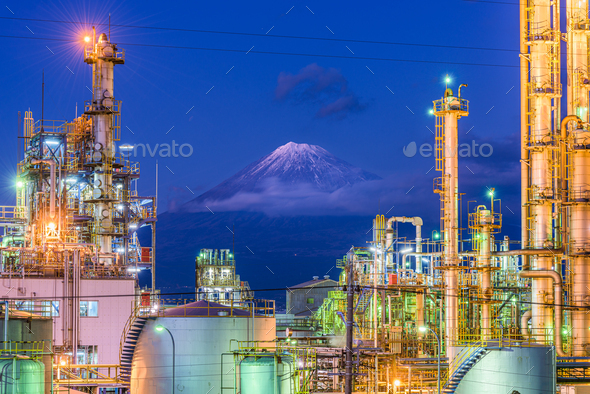 Mt. Fuji, Japan viewed from behind factories - Stock Photo - Images