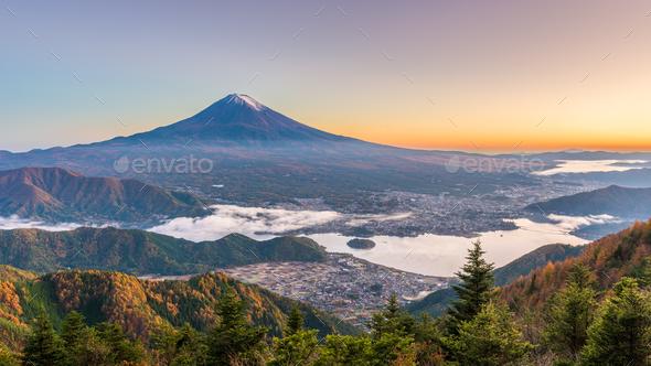Mt. Fuji, Japan over Kawaguchi Lake - Stock Photo - Images