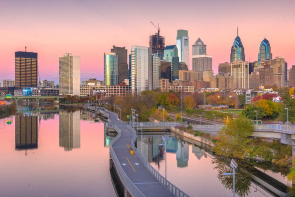 Philadelphia, Pennsylvania, USA River Skyline - Stock Photo - Images