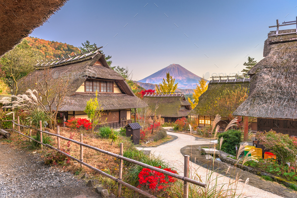 Village and Mt. Fuji - Stock Photo - Images