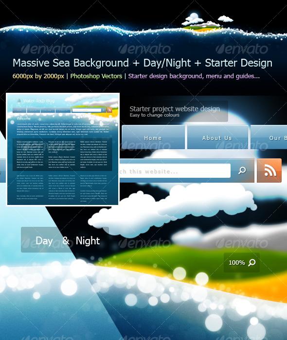 Sea Background Design Starter Kit - Backgrounds Graphics