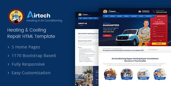Airtech - HVAC Repairing HTML Template
