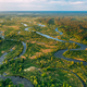 Aerial View Green Forest Woods And River Landscape In Sunny Spri - PhotoDune Item for Sale