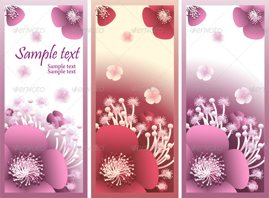 Banner with  flowers for flowers shop or perfume