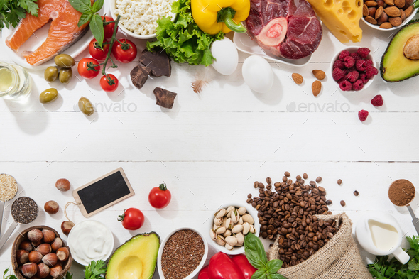 Ketogenic low carbs diet - food selection on white background - Stock Photo - Images