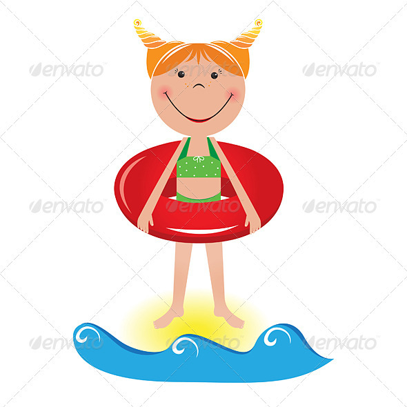 Cartoon little girl with a lifeline - Characters Vectors