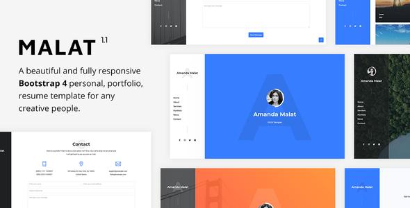 Malat - Responsive Personal / Portfolio / Resume Template by Erilisdesign