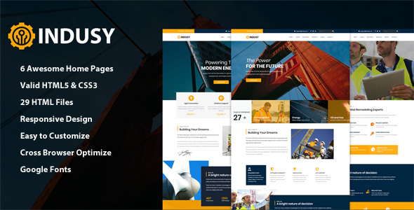 Indusy - Industrial & Factory Solutions HTML Template by QuickDev