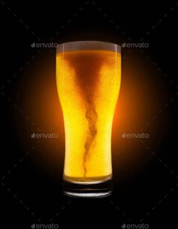 Glass of golden beer - Stock Photo - Images