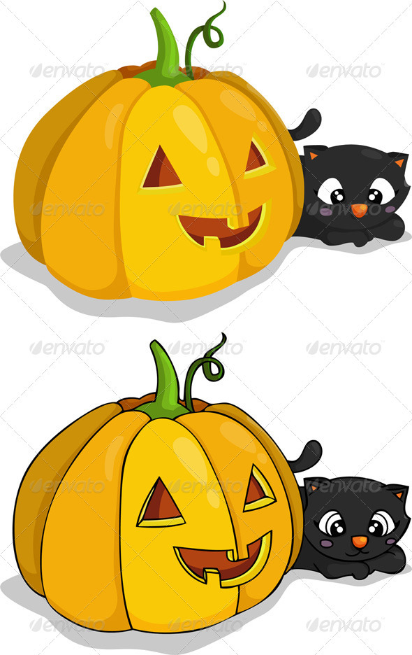 Pumpkin and Black Cat - Halloween Seasons/Holidays