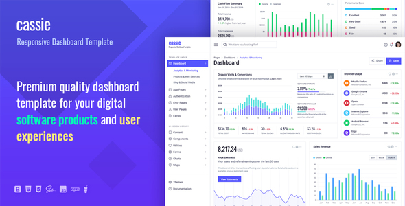 Cassie Responsive Dashboard and Admin HTML5 Template