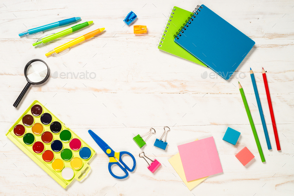 School and office sstationery on white background - Stock Photo - Images