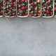 Fresh strawberries in plastic-free boxes over grey concrete background - PhotoDune Item for Sale
