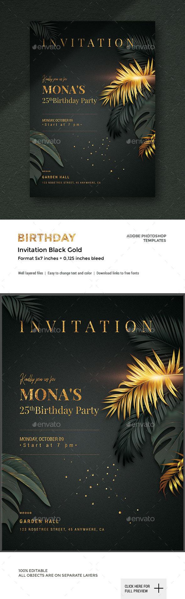 Black/Gold - Birthday Invitation by corrella | GraphicRiver