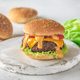 Hamburger on the wooden board - PhotoDune Item for Sale