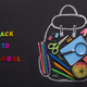 Teenage chalk backpack with office stationery and lunch - PhotoDune Item for Sale