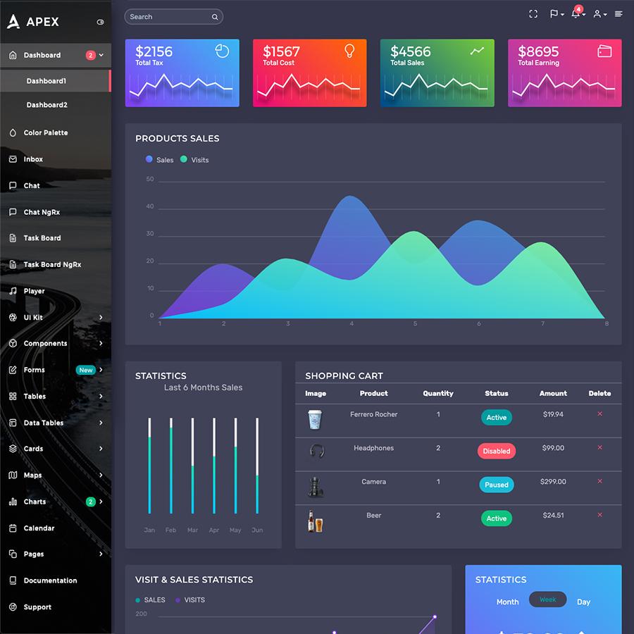 Apex - Angular 8+ & Bootstrap 4 HTML Admin Template