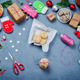 Christmas background with gifts, cookies, Christmas decoration a - PhotoDune Item for Sale