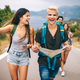 Group of happy friend traveler walking and having fun. Travel lifestyle and vacation concept - PhotoDune Item for Sale