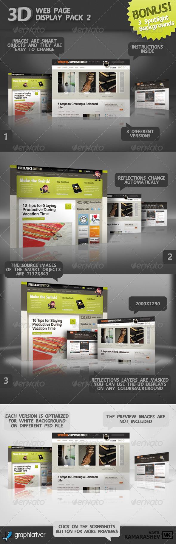3D Web Page Display Pack 2 +BONUS 3 Spotlight BGs - Website Displays