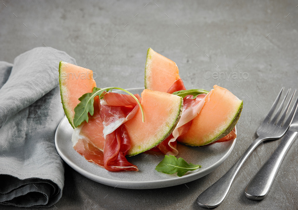 melon and ham - Stock Photo - Images