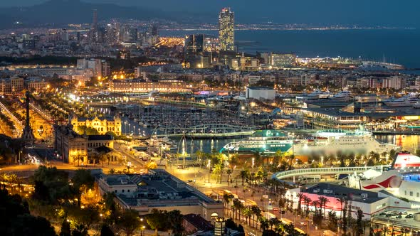 Beautiful Evening View Of Barcelona Catalonia Spain Time Lapse Zoom Out Shot Of Barcelona City By Silver John