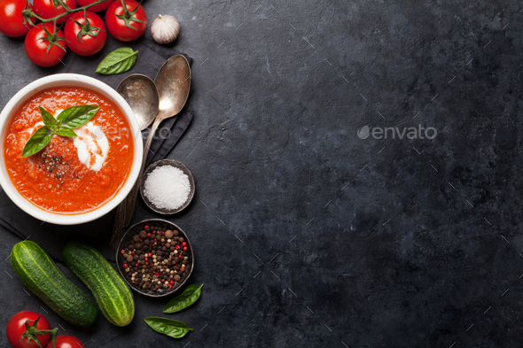 Cold gazpacho soup - Stock Photo - Images