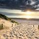 path on sand to North sea beach at sundown - PhotoDune Item for Sale