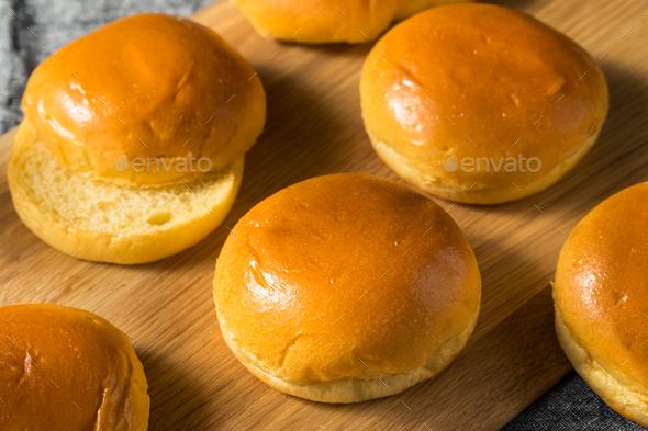 Homemade Sweet Brioche Hamburger Buns - Stock Photo - Images