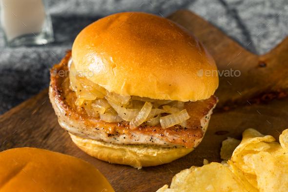 Homemade Chicago Pork Chop Sandwich - Stock Photo - Images
