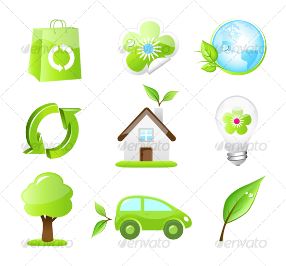 Collection of Nine Green Eco Icons - Miscellaneous Icons