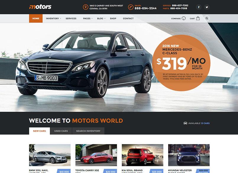 Motors - Car Dealer and Rental, Classified WordPress theme