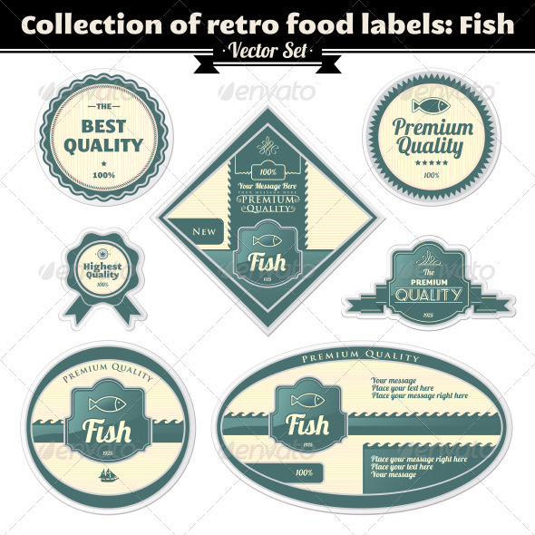Collection Of Retro Food Labels. Fish - Patterns Decorative