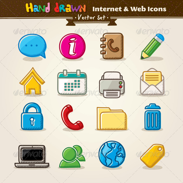 Vector Hand Draw Internet And Web Icon Set - Web Technology
